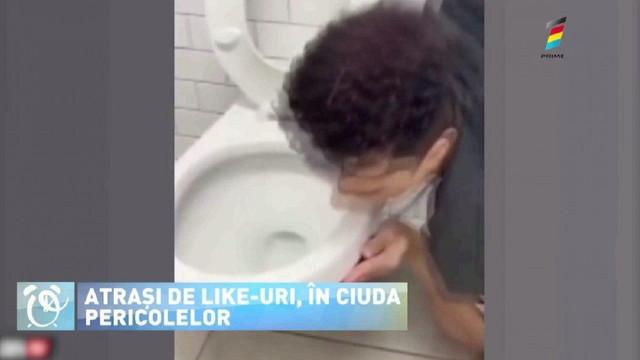 Un influencer, infectat cu COVID-19 după ce a lins un WC public
