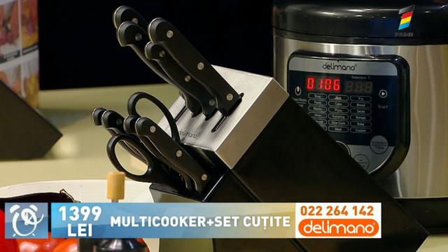 Oferta zilei, la Prima Oră. Cumpără un multicooker și primește cadou un set de cuțite